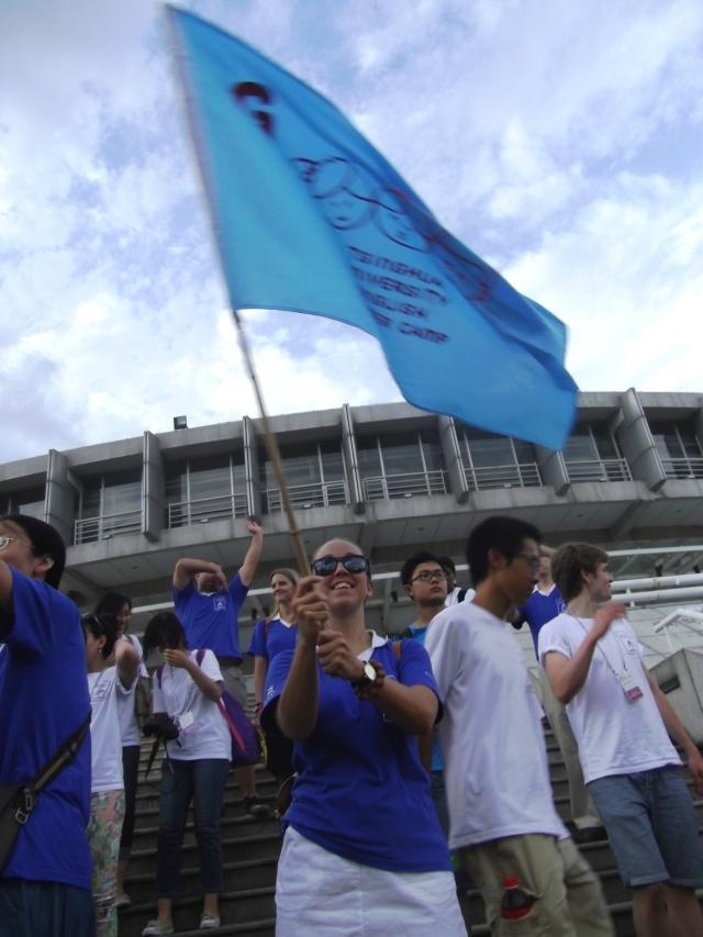Jennifer waving our class flag!!
