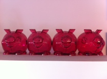 Pink shelf piggies