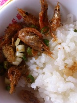 A super tasty, crispy shrimp dish with white rice and local fern