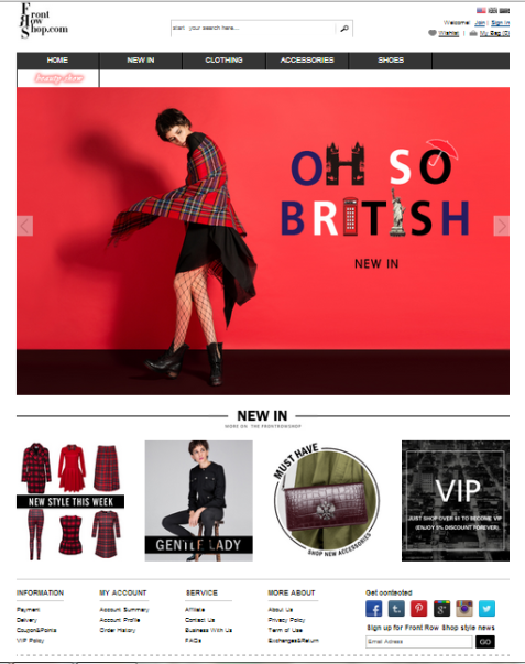 Front Row Shop Homepage 2013