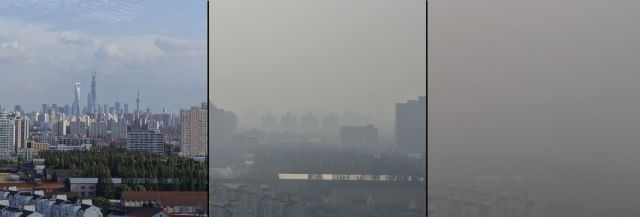 Shanghai Pollution demonstrated by my classmate. These photos, taken less than four months apart, show the change in visibility from the top of our 23 floor dormitory.