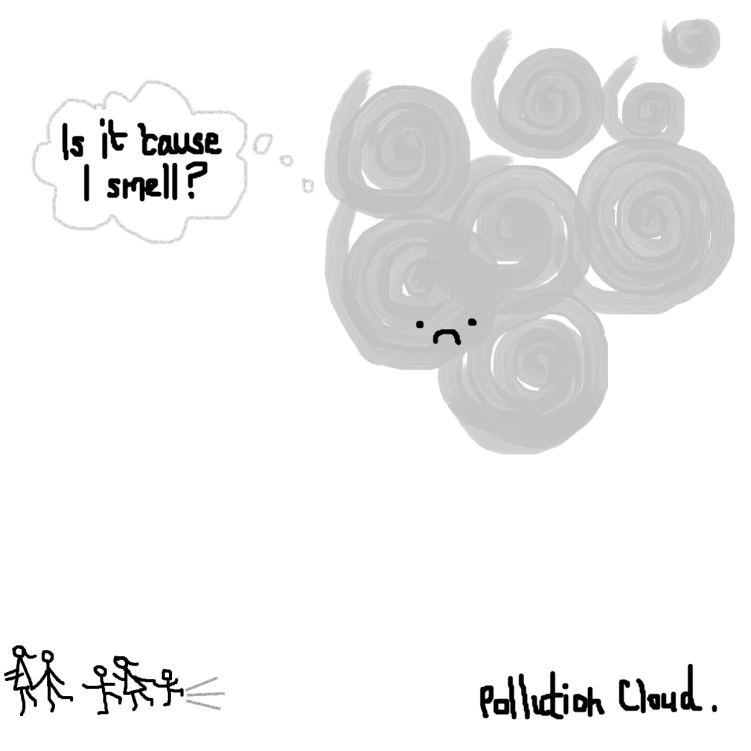 Shanghai Pollution Cartoon: Pollution Cloud
